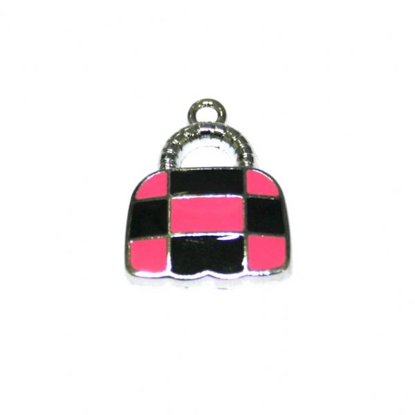1 x 21*16mm rhodium plated cute handbag with pink / black checks enamel charm - SD03 - CHE1220